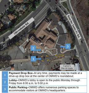 Headquarters map showing parking and payment drop box