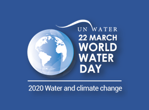 world water day logo on blue background